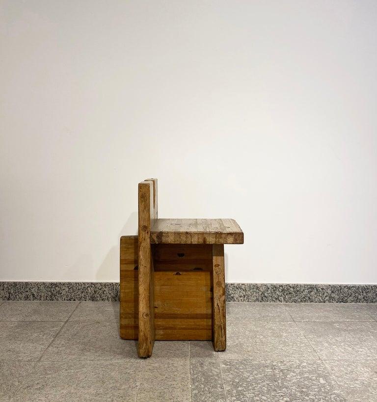 Brutalist Lina Bo Bardi Stool Designed for Sesc Pompeia Brazil 1980, Pine Wood For Sale 2