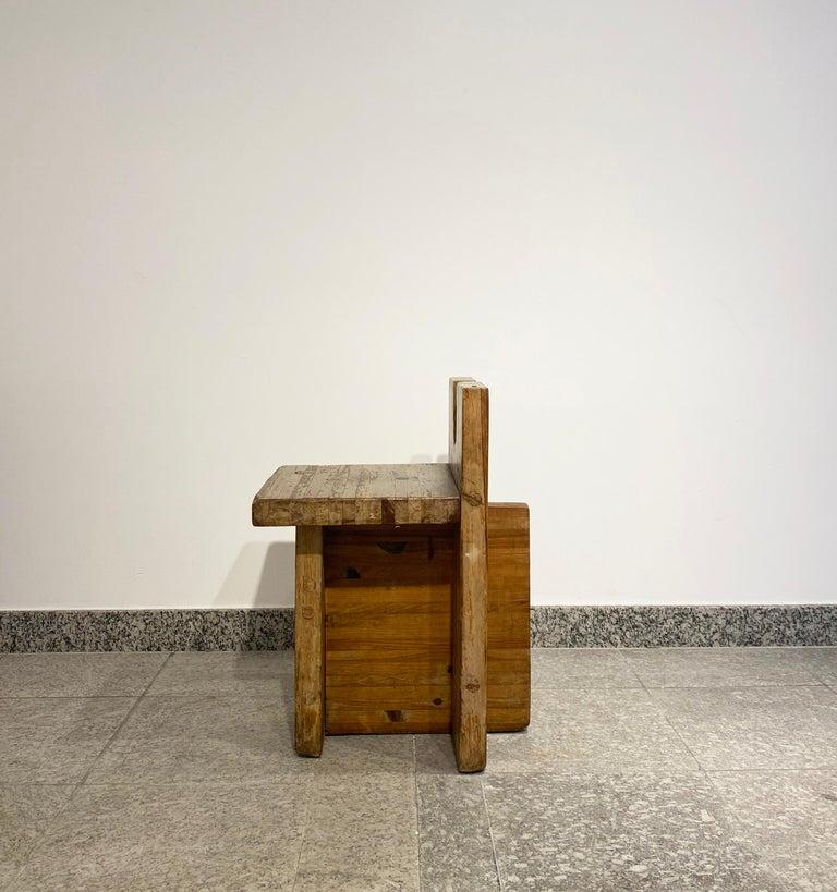 Brutalist Lina Bo Bardi Stool Designed for Sesc Pompeia Brazil 1980, Pine Wood For Sale 3