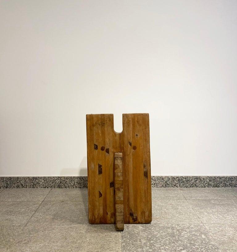 Brutalist Lina Bo Bardi Stool Designed for Sesc Pompeia Brazil 1980, Pine Wood For Sale 4