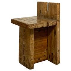Brutalist Lina Bo Bardi Stool Designed for Sesc Pompeia Brazil 1980, Pine Wood