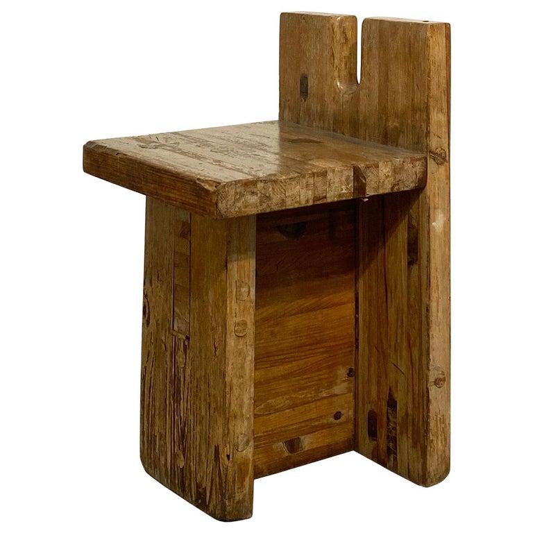 Brutalist Lina Bo Bardi Stool Designed for Sesc Pompeia Brazil 1980, Pine Wood For Sale