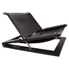 Brutalist Lounge Chair in Brown Leather by Sonja Wasseur, the Netherlands, 1970