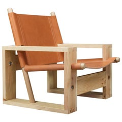 Brutalist Lounge chair in Pine, Ash and Saddle Leather by Ate van Apeldoorn