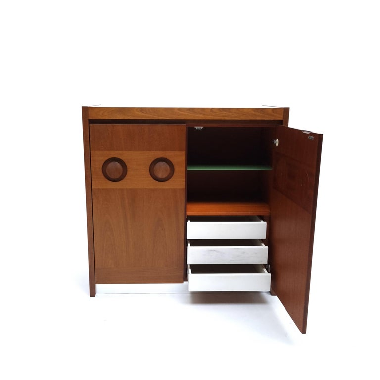 Brutalist Mahogany Credenza by De Coene, 1970s In Good Condition For Sale In AMSTERDAM, NL
