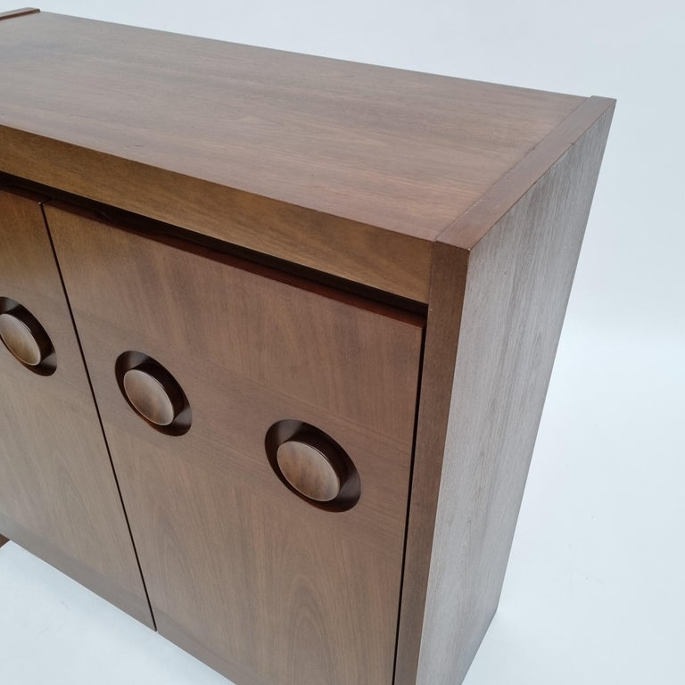 Brutalist Mahogany Credenza by De Coene, 1970s For Sale 2