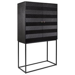 Brutalist MCM Design Wooden and Black Metal Bar Cabinet