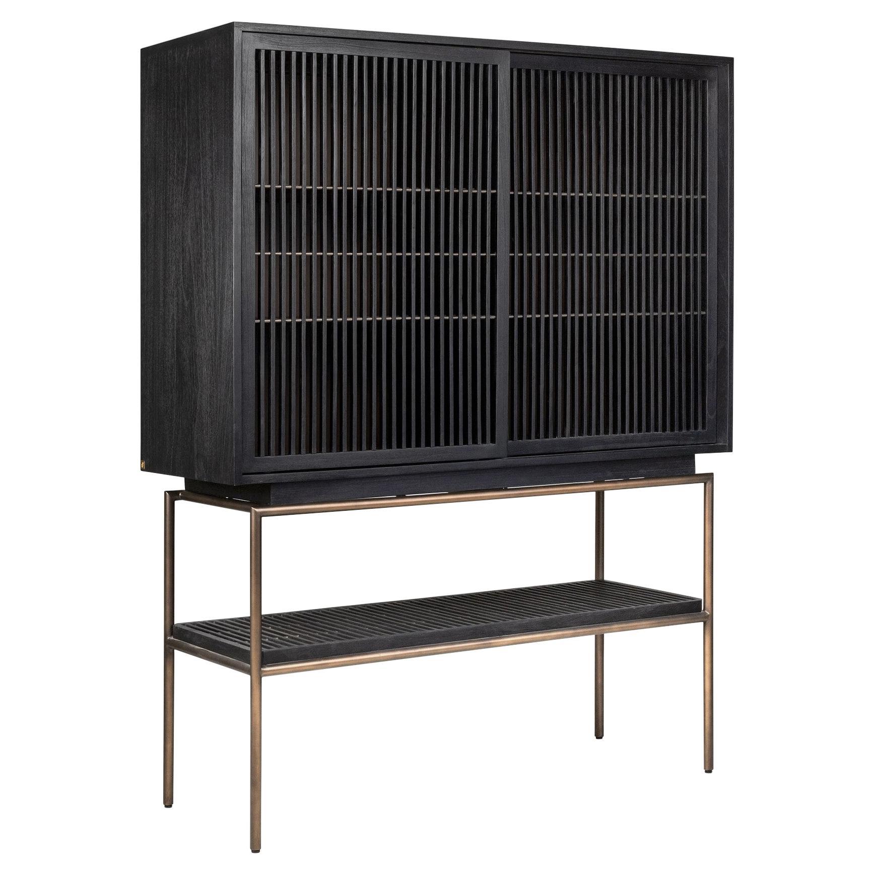 Brutalist MCM Design Wooden and Black Metal Bar Cabinet