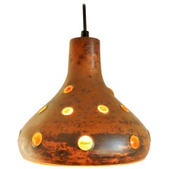 Brutalist Metal and Glass Pendant Lamp, Late 1960s-Early 1970s