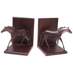 Brutalist Metal and Wood Horse Bookends