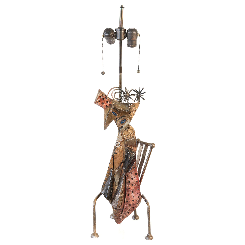 Brutalist Metal Cat Sculptural Table Lamp