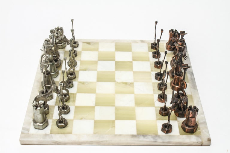 1970s Brutalist Metal Chess Pieces with Onyx Chess Board For Sale