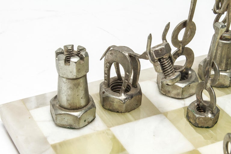 Brutalist Metal Chess Pieces with Onyx Chess Board For Sale 1