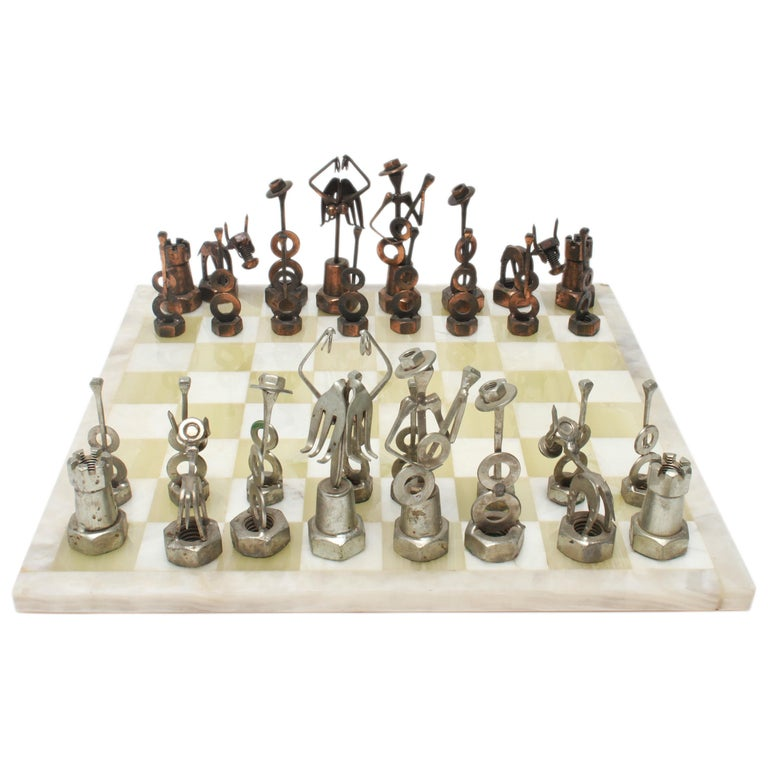 Brutalist Metal Chess Pieces with Onyx Chess Board For Sale