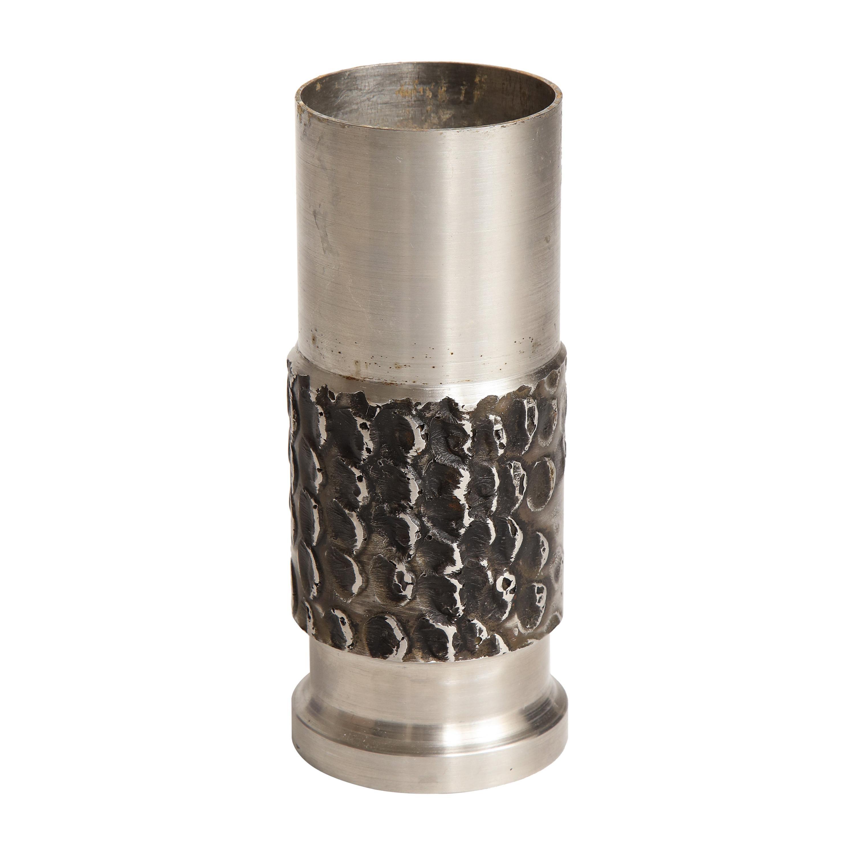 Brutalist Metal Cylinder Vase