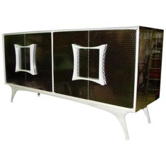Brutalist Metal Laminate Vanleigh Credenza Cabinet Server Bar