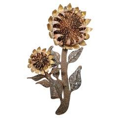 Brutalist Metal Sculpture in Sunflower Form