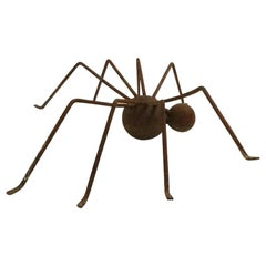 Brutalist Metal Spider Sculpture