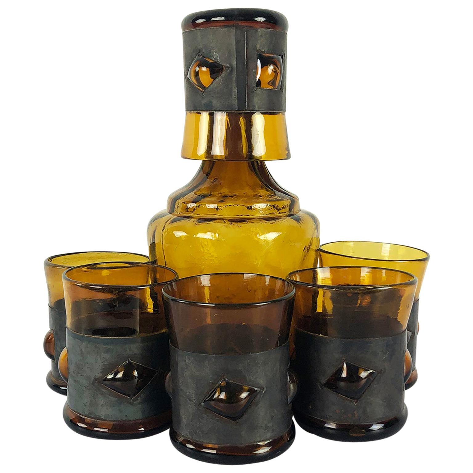 Brutalist Mexican Modern Art Glass Jar with 5 Glasses by Feders