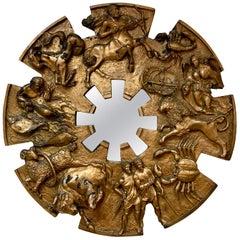 Brutalist Round Gold Midcentury Greek Zodiac Finesse Relief Mirror