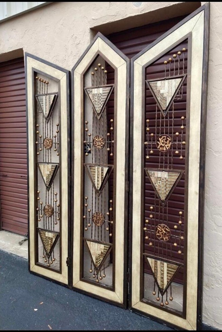 Brutalist Mid-Century Mixed Metal Room Divider For Sale 2