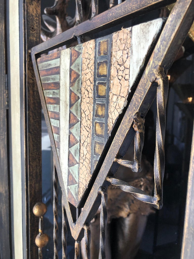 Mid-century Brutalist 3 panel mixed metal room divider of forged iron, bronze and copper.