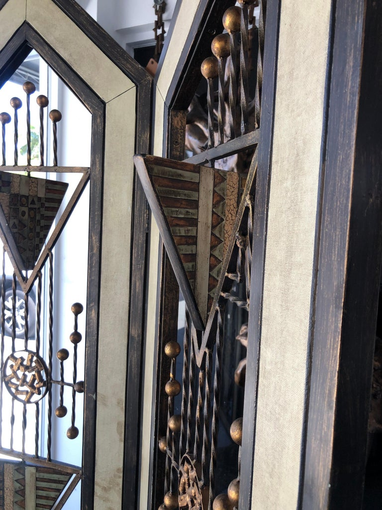 Forged Brutalist Mid-Century Mixed Metal Room Divider For Sale