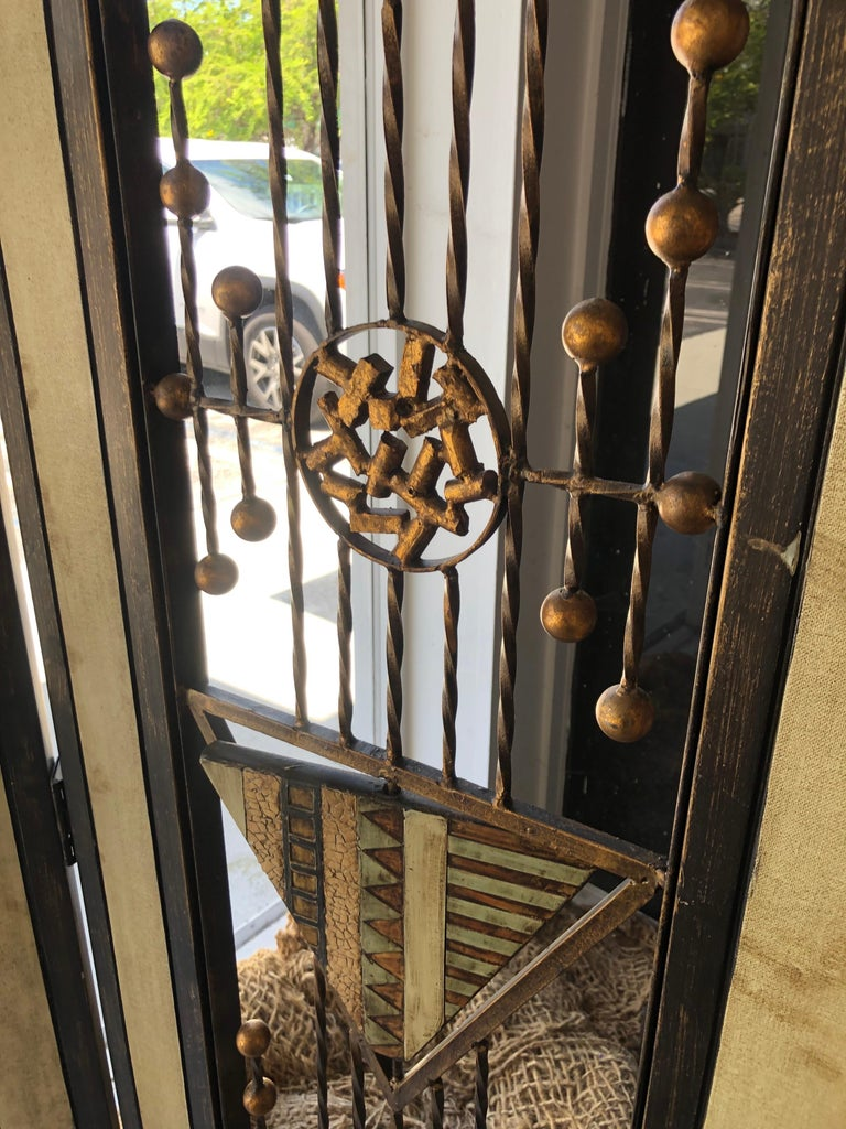 Brutalist Mid-Century Mixed Metal Room Divider In Good Condition For Sale In Miami, FL