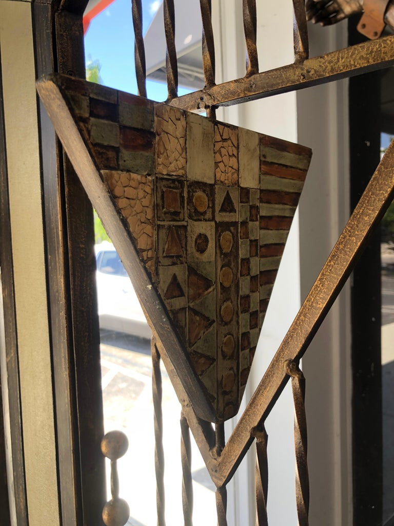 20th Century Brutalist Mid-Century Mixed Metal Room Divider For Sale