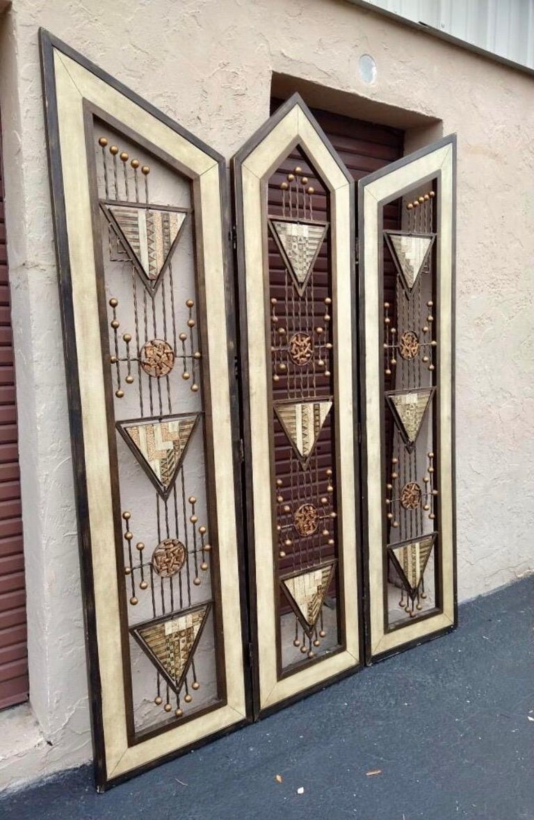 Brutalist Mid-Century Mixed Metal Room Divider For Sale 1