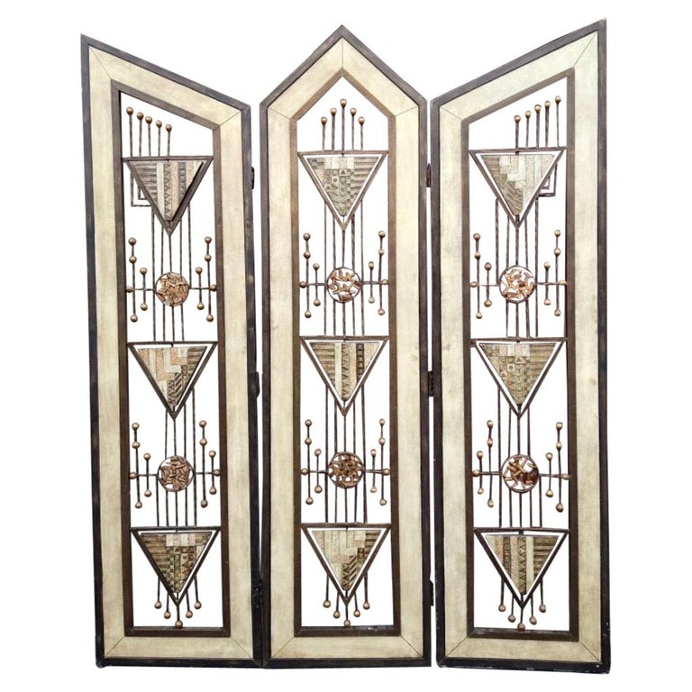 Brutalist Mid-Century Mixed Metal Room Divider For Sale