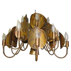 Brutalist Mid-Century Modern Chandelier in the Manner of Curtis Jere