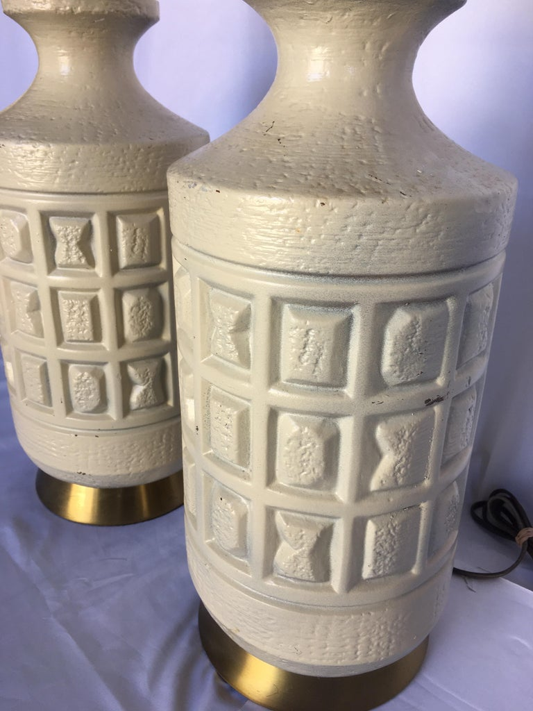 Mid-20th Century Brutalist Mid-Century Modern Cubist Pottery Table Lamps For Sale