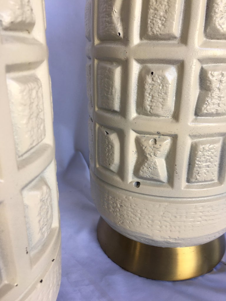 Brutalist Mid-Century Modern Cubist Pottery Table Lamps For Sale 1