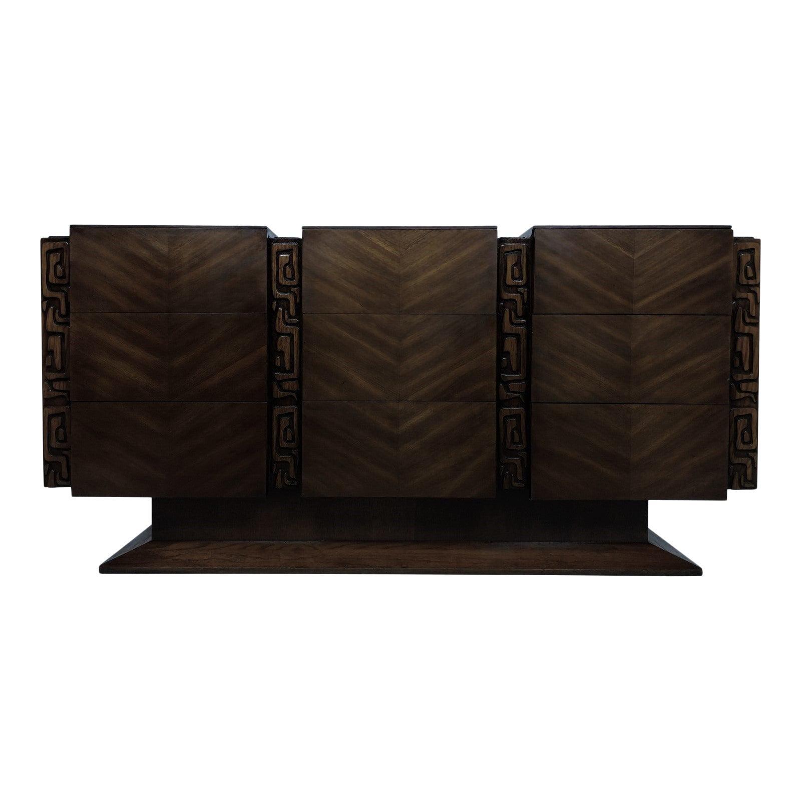 Brutalist Midcentury Tiki Inspired Dresser by United Furniture Co.