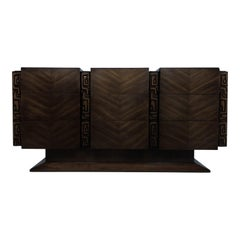 Brutalist Midcentury Tiki Inspired Dresser by United Furniture Co.