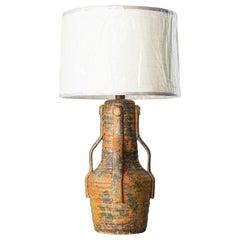 Brutalist Midcentury Glazed Ceramic Table Lamp Attributed to Martz