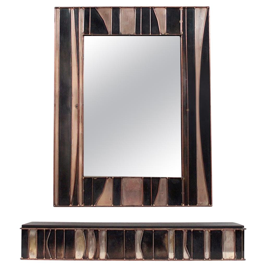 Brutalist Mirror and Console by Jere