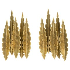 Brutalist Model 5195 Brass Wall Sconces from Holm Sorensen, Set of Two