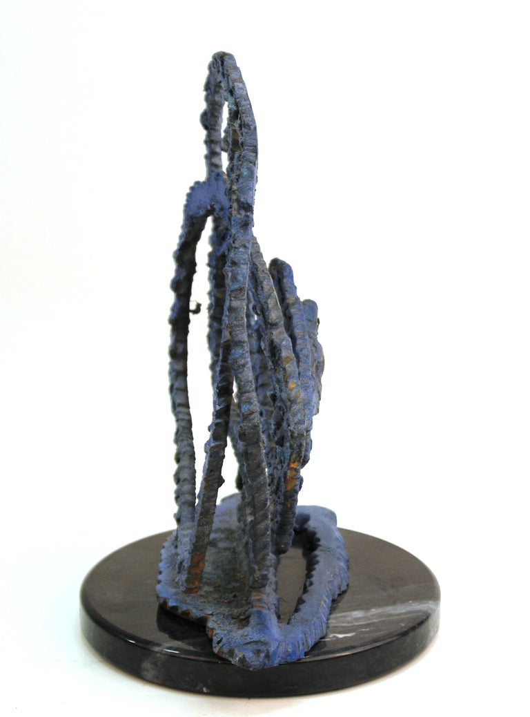 Brutalist Modern Abstract Cut Metal Spiral Sculpture In Good Condition For Sale In New York, NY