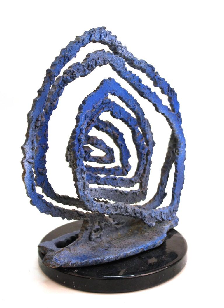 Brutalist Modern Abstract Cut Metal Spiral Sculpture For Sale 1