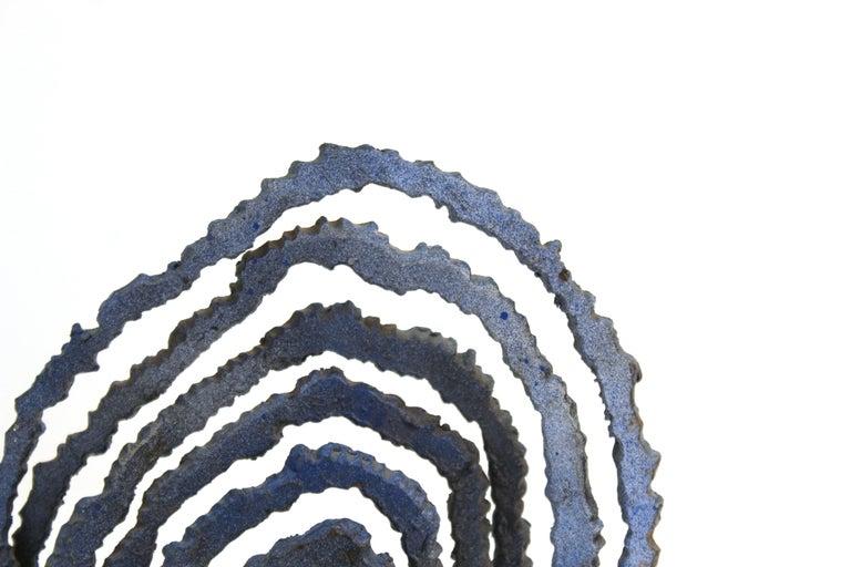 Brutalist Modern Abstract Cut Metal Spiral Sculpture For Sale 2