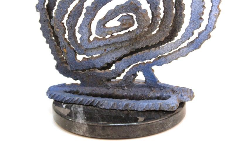 Brutalist Modern Abstract Cut Metal Spiral Sculpture For Sale 3
