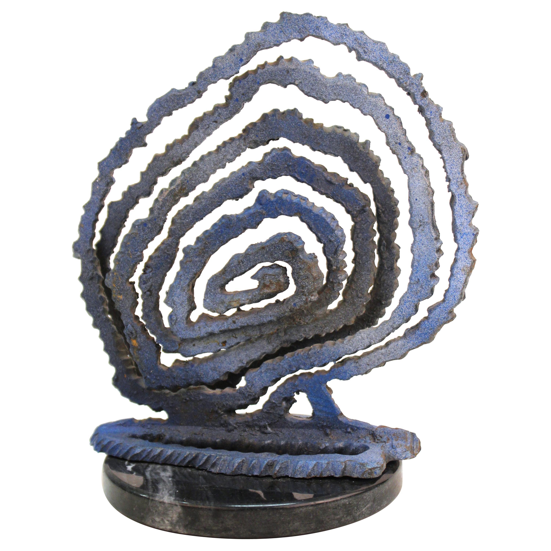 Brutalist Modern Abstract Cut Metal Spiral Sculpture