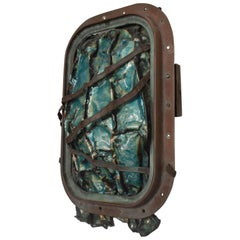 Brutalist Abstract Sea Sculpture Aqua Enamel on Copper by JoAnn Tanzer Calif
