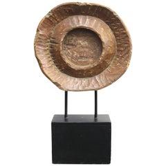 Brutalist Modern Carved Wood Disc Sculpture on Base