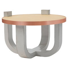 Brutalist Modern Concrete Leather-Top Round Coffee Table with Rose Gold Detail