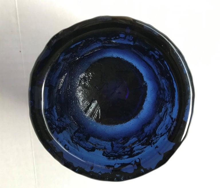 Swedish Brutalist Modern Gote Augustsson Cobalt Blue Textured Bowl for Ruda, Sweden 1960