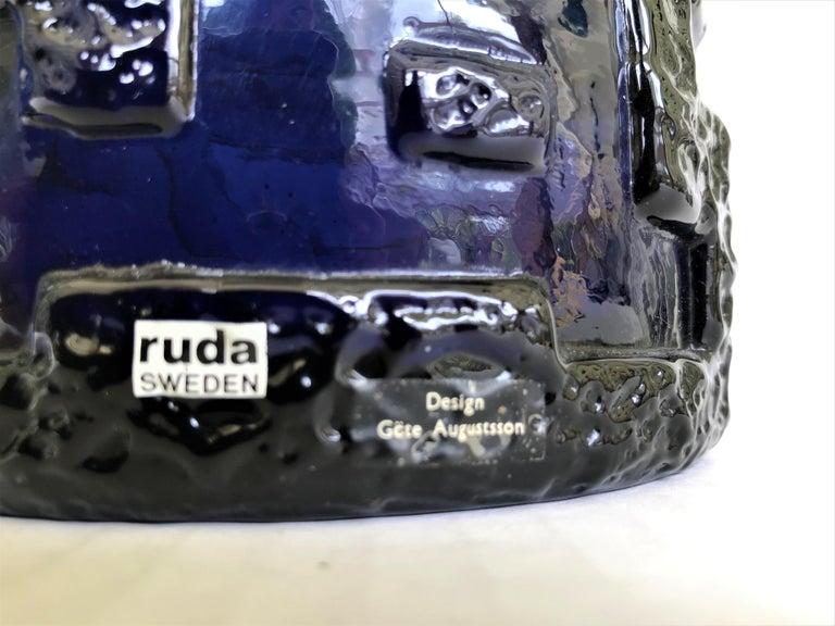 Art Glass Brutalist Modern Gote Augustsson Cobalt Blue Textured Bowl for Ruda, Sweden 1960