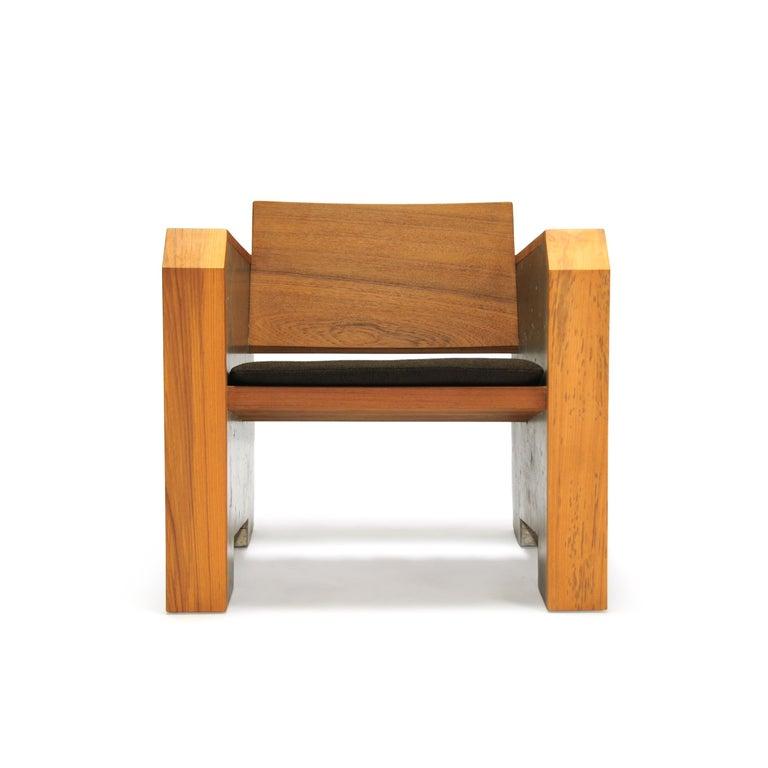 Outstanding Brutalist Modern Outdoor Concrete Burmese Teak Lounge Chair Alphanode Cool Chair Designs And Ideas Alphanodeonline