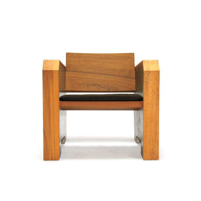 American Brutalist Modern Outdoor Concrete Burmese Teak Lounge Chair For Sale